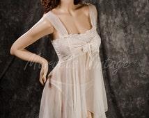 ON SALE Vintage White Chiffon Victoria's Secret Lingerie Sheer White Bridal Babydoll and Panty Set Size Medium Honeymoon