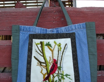Upcycled Crewel Embroidery and Denim Tote