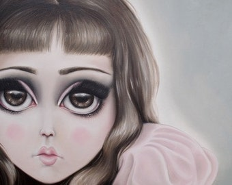 60's Big Eyes Dum Dum - LIMITED EDITION signed numbered print lowbrow art, Lolita, doll, dolly
