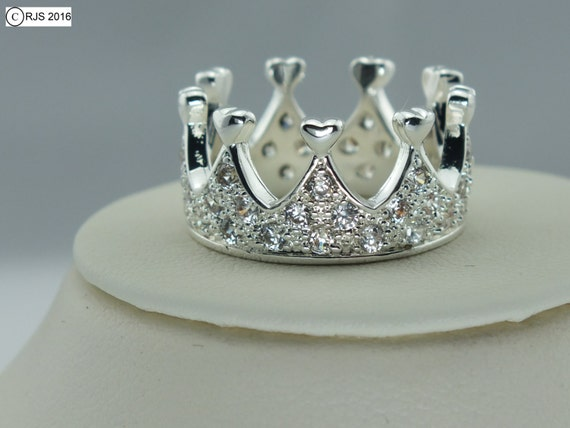 princess heart crown ring sterling silver princess queen