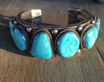 Giant Heavy FOX Turquoise Cuff Bracelet Alex Sanchez Navajo Silversmith 268 GRAMS STERLING Silver