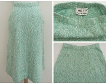 Vintage 1960s 1970s ADOLFO Flared A line sweater knit skirt Fits S M 60s 70s vtg
