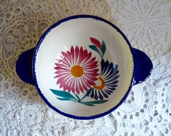 Vintage French NAME BOWL, MARGUERITE. Hand Painted Quimper Bowl, Cafe au Lait Bowl, Personalized Ceramics from France. Stamped Quimper.