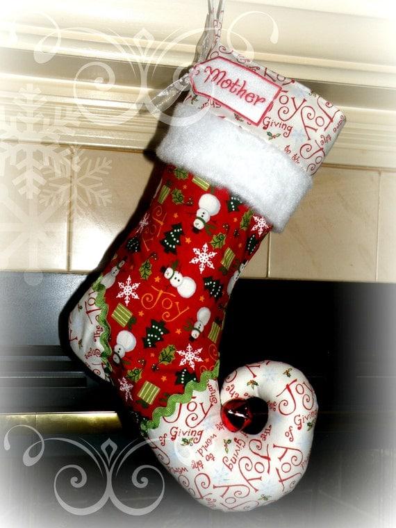 Personalized Christmas Stocking elf stocking  - elf stocking JOYFUL SNOWMEN with personalized name tag