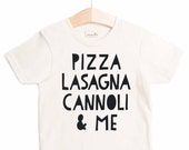 "Free US Shipping/ ""Italian Food"" Organic Tee shirt/ Kids Gift/ Present/ Toddler/ Tots Modern Hip Children Kids Tops Typography Pizza Lasagna"