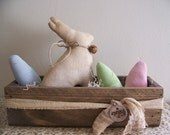 Primitive Easter Bunny And Eggs In Lathe Box Spring Decor