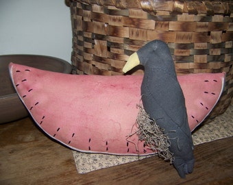 Primitive Watermelon And Crow Shelf Sitter/Hanger Fabric Summer Decor