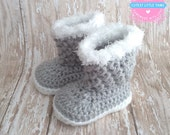 Baby Girl Boots, Crochet Baby Girl Booties, Newborn Booties, Crocheted Booties, Gray Booties with white sole, Baby shoes, Baby Shower, UGG