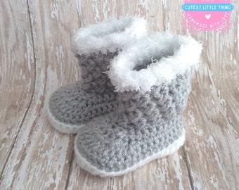 Baby Girl Boots, Crochet Baby Girl Booties, Newborn Booties, Crocheted Booties, Gray Booties with white sole, Baby shoes, Baby Shower, UGG