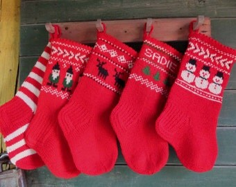 Christmas Stockings Personalized Wool Small Hand knitted Red Grey White Yellow Green blue Snowflakes Trees Deer Gomes Snowmen ornament