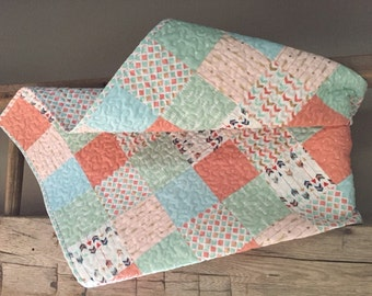 Patchwork Arrows, Beautiful Pinks, Greens, Blues, & Metallic Gold Baby/ Toddler Quilt- READY TO SHIP