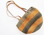 Sisal Bag / Woven Tote Bag / Leather Strap Striped Purse