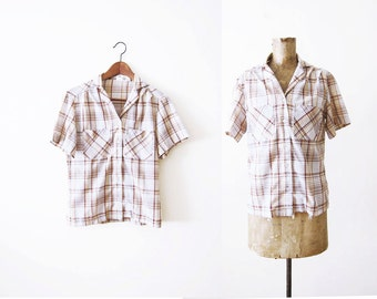 70s Country Western Plaid Shirt / Womens Short Sleeve Brown Checkered Top / 1970s Clothing / Camp Shirt / Patch Pocket / Small