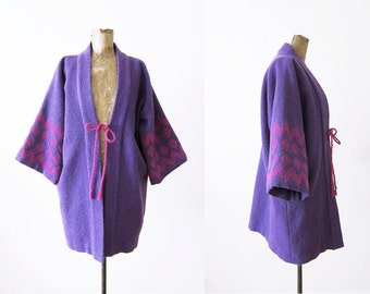 Bohemian Coat / Guatemalan Jacket / Kimono Jacket / Purple Boho Wool Jacket