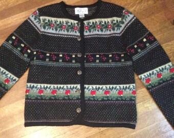 SALE / Vintage Wool Cardigan / Beautiful Wool Cardigan / Metal Buttons