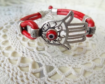 Hamsa-Hand of Fatima Bracelet, Red Leather Bracelet, Red Evil Eye Bracelet, Adjustable Bracelet, gift for my boyfriend and girl friend