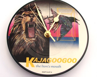 "KAJAGOOGOO Vinyl Record CLOCK made from recycled 7"" picture Disc, unique gift, multi coloured, fun gift, retro 1980s, rock, pop, unisex gift"