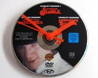 Clockwork Orange DVD CLOCK. Made from a recycled movie dvd, cult movie, gift for men, women,Stanley Kubrick, black, white, orange
