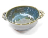 French Onion Soup Bowl, Small Casserole, Pottery Crock, Ceramic Baking Dish, Pottery Soup Bowl, in Blue and Green