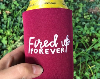 CMU can cooler, fired up forever, tailgate drinkware, graduation gift, central michigan tailgate, cmich alumni, beverage holder sleeve