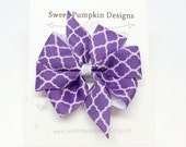 Hair Bow. Girl Bow. Pinwheel Clip. Purple Clip. Purple Bow. Barrette. Quatrefoil Bow. Toddler Hair Accessory HC1246
