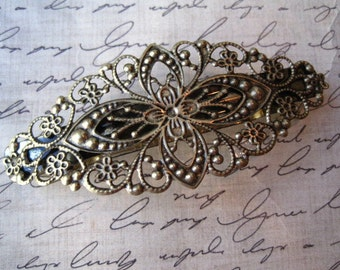 Filigree Barrette / French Clip 1 pc Antique Bronze Barrette / 80mm x 35mm Pad for Cabochon Flowers