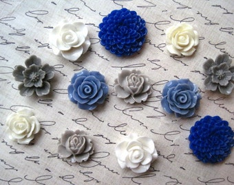 Resin Flowers, Blue, Gray and Off White, Cream Cabochon Flowers, 12 pcs, Flat Back Flowers, Resin Rose, Sakura, Perfect for Jewelry Projects