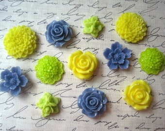 Resin Flower Cabochons, 12 pcs Cornflower Blue, Lime Green and Yellow Resin Roses, Sakura and Dahlias, No Holes, Flat Backs, 16mm to 24mm
