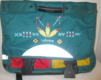 vintage, Lafuma made in France padded laptop messinger backpack book bag couirer reflective bag