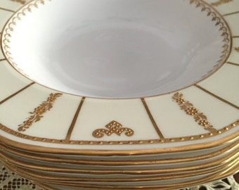 Antique  Bowls/ 12 Rim Soup Bowls/George Jones/22 Kt Raised Gold Accents/Creamed Colored Border/Octagon Shape/Dinner Party/China Dishes