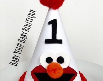 Elmo Birthday hat // Boys Birthday Hat // Cake smash Hat