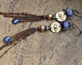 Rustic Jewelry . Boho . Eye earrings * Her Allegories * n277- golden focal . boho jewelry . kyanite bohemian dainty . long shoulder duster