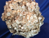 gold hydrangea with pearls and gold lace vow renewal bouquet vintage inspired bouquet pearl bouquet