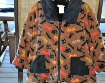 Boys Brown Fleece Skater Jacket 4T