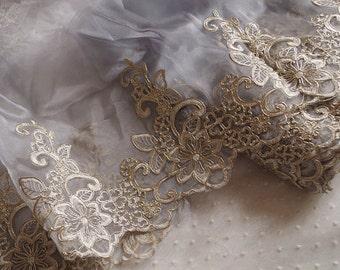 grey lace trim with gold alencon floral