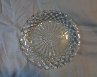 Vintage Hocking waffle waterford  dessert or bread plate weddings party pressed glass