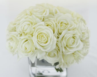 Real Touch White Roses Arrangement using Artificial Faux Silk Flowers for Home Decor