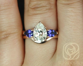 Kasey 10x7mm 14kt Rose Gold Pear F1- Moissanite and Blue Sapphire 3 Stone Wedding Set (Other metals and stone available)