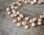 Multi strand blush peach baroque pearl necklace Hand knotted pearl necklace Long multi layer knotted silk necklace Spring summer jewelry