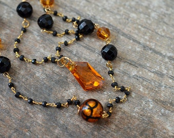 Multi layer necklace Black onyx spinel semi precious gemstone rosary chain Double strand beaded chain necklace Murano necklace