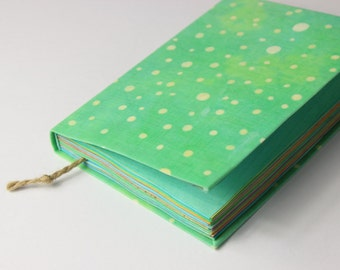 dots journal, diary, notebook, travel journal, colorful paper, mint