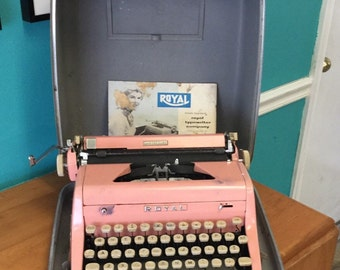 1950's Vintage Pink Royal Quiet De Luxe typewriter with case and manual