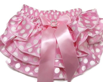 Polka Dot Diaper Cover, Light Pink with Polka Dots Ruffled Satin Diaper Cove, Ruffled Baby Bloomers, Infant - Toddler