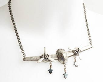 Antique Silver Airplane Necklace with 3D Brass Stamping Spinning Props and Gemstone Stars