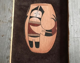 Hopi Pottery Painting, signed by artist, Barn Wood Frame