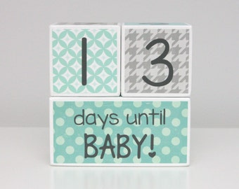 Baby Countdown Blocks - Mint Teal Gray