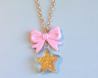 Gold Star! - Glitter Star and Pastel Pink Bow Charm Necklace