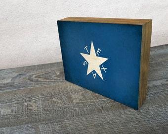 Texas Star Flag Art Mounted Print -  Wood Block Wall Decor