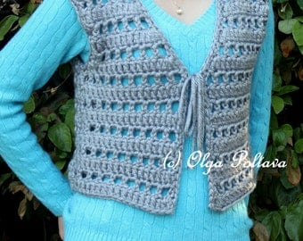 Womens Chunky Vest Crochet Pattern, Size Small - Medium, Easy Crochet Pattern and Tutorial, PDF Download