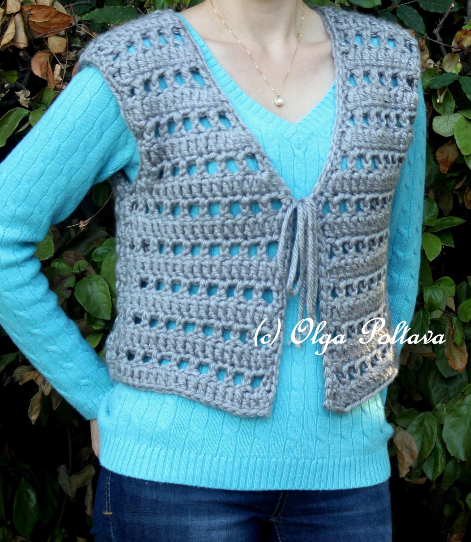 Womens Chunky Vest Crochet Pattern Size Small Medium Easy